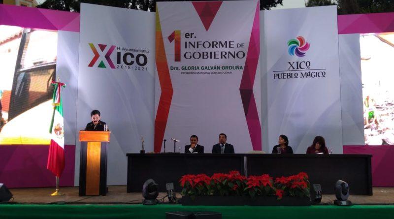 Finanzas sanas y obras históricas en Xico, informa Gloria Luz Galván, Presidenta Municipal