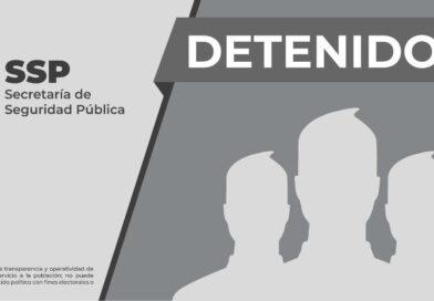 Detiene SSP a tres por presunta portación ilegal de armas y delitos contra la salud, en Veracruz.